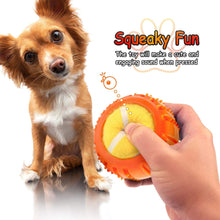 Load image into Gallery viewer, Fluffy Paws Dog Tennis Ball, Squeaky Dog Toy with Textured Round Squeaky Rubber, Clean Teeth, Massage Gums, Pet Toy IQ Training Playing and Chewing, Orange for Small and Medium Dog Puppy