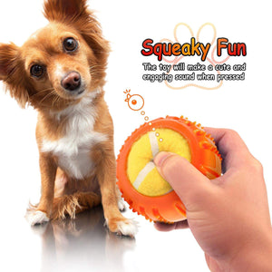 Fluffy Paws Dog Tennis Ball, Squeaky Dog Toy with Textured Round Squeaky Rubber, Clean Teeth, Massage Gums, Pet Toy IQ Training Playing and Chewing, Orange for Small and Medium Dog Puppy