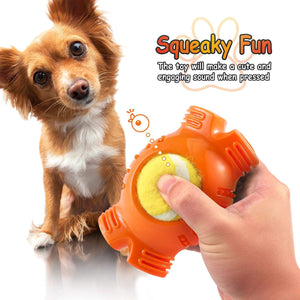 Fluffy Paws Dog Tennis Ball, Squeaky Dog Toy with Textured Fat Bone Squeaky Rubber, Clean Teeth, Massage Gums, Pet Toy IQ Training Playing and Chewing, for Small and Medium Dog Puppy, Orange