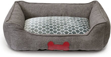 "Load image into Gallery viewer, Fluffy Paws Pet Bed Crate Pad Premium Bedding w/Inner Cushion for Dog/Cat [Luxury Plush Series], Charcoal Gray Burlap Bed - Large 30""x23""x7"""