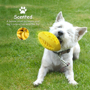 Fluffy Paws Dog Treat Ball, Soft Rubber Dog Toy Chewing Feed Ball (Dental Treat & Bite Resistant) Durable Non-Toxic Teething, IQ Training & Playing, for Small and Medium Dog Puppy, Yellow