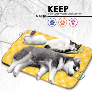 "Fluffy Paws Indoor Pet Bed Warmer Electric Heated Pad with Free Cover (Dual Temperature & UL Certified), Yellow Dot Large - 20.9"" x 28.4"""