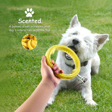 "Load image into Gallery viewer, Fluffy Paws Dog Chewing Ring, 7"" Soft Rubber Ring Dental Chewing Teething Biting Chasing Training Toy for Small and Medium Dog Puppy, Yellow"