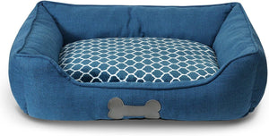 "Fluffy Paws Pet Bed Crate Pad Premium Bedding w/Inner Cushion for Dog/Cat [Luxury Plush Series], Ocean Blue Burlap Bed - Large 30""x23""x7"""