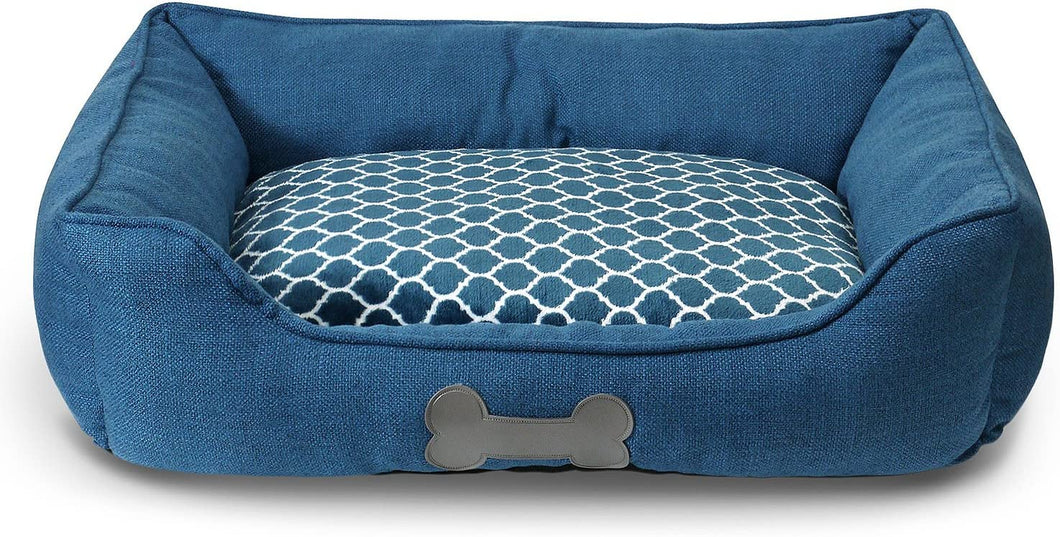 Fluffy Paws Pet Bed Crate Pad Premium Bedding w/Inner Cushion for Dog/Cat [Luxury Plush Series], Ocean Blue Burlap Bed - Large 30