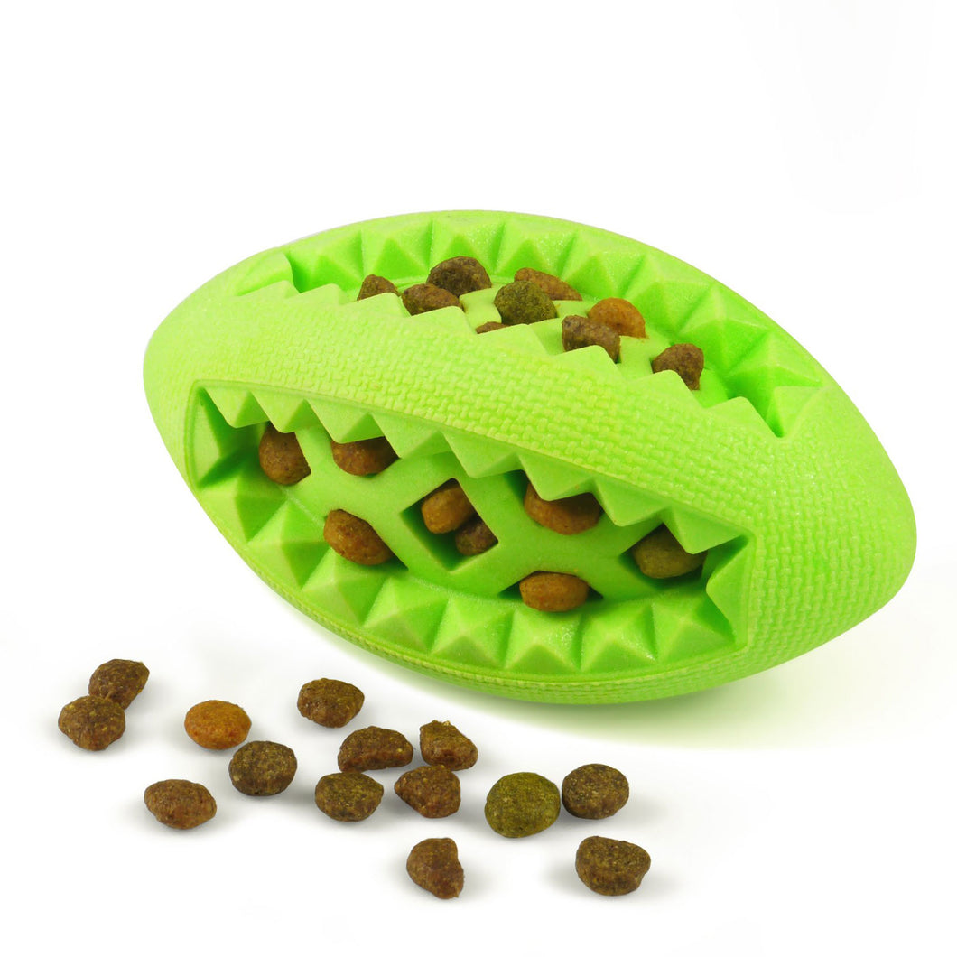 Fluffy Paws Dog Treat Ball, Soft Rubber Dog Toy Chewing Feed Ball (Dental Treat & Bite Resistant) Durable Non-Toxic Teething, IQ Training & Playing for Small and Medium Dog Puppy, Green
