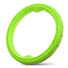 "Load image into Gallery viewer, Fluffy Paws Dog Chewing Ring, 10"" Soft Rubber Ring Dental Chewing Teething Biting Chasing Training Toy for Small and Medium Dog Puppy, Green"
