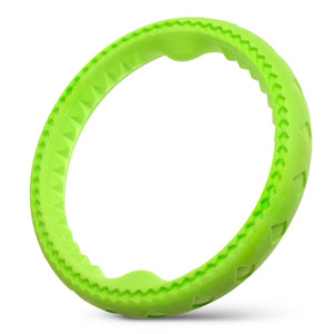"Fluffy Paws Dog Chewing Ring, 10"" Soft Rubber Ring Dental Chewing Teething Biting Chasing Training Toy for Small and Medium Dog Puppy, Green"