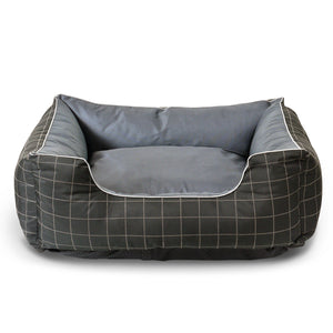 "Fluffy Paws Pet Bed Crate Pad Premium Bedding w/Inner Cushion for Dog/Cat [Happy Camper Series], Thunder Gray with Oxford Square Bottom - 26""x22""x8"""
