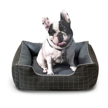 "Load image into Gallery viewer, Fluffy Paws Pet Bed Crate Pad Premium Bedding w/Inner Cushion for Dog/Cat [Happy Camper Series], Thunder Gray with Oxford Square Bottom - 26""x22""x8"""
