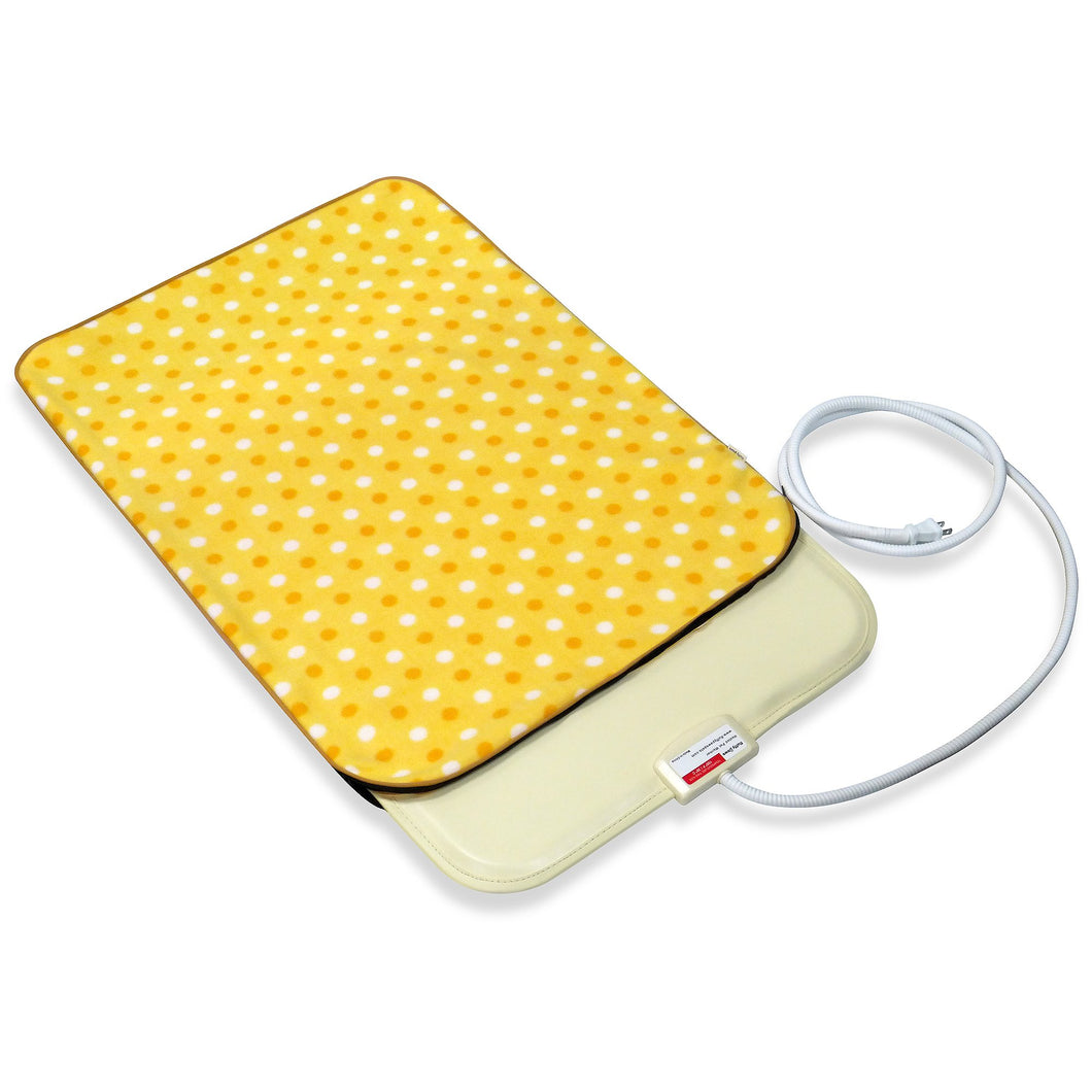 Fluffy Paws Indoor Pet Bed Warmer Electric Heated Pad with Free Cover (Dual Temperature & UL Certified), Yellow Dot Small - 12.3