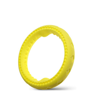 "Fluffy Paws Dog Chewing Ring, 7"" Soft Rubber Ring Dental Chewing Teething Biting Chasing Training Toy for Small and Medium Dog Puppy, Yellow"