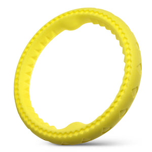 "Fluffy Paws Dog Chewing Ring, 10"" Soft Rubber Ring Dental Chewing Teething Biting Chasing Training Toy for Small and Medium Dog Puppy, Yellow"