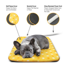 "Load image into Gallery viewer, Fluffy Paws Indoor Pet Bed Warmer Electric Heated Pad with Free Cover (Dual Temperature & UL Certified), Yellow Dot Large - 20.9"" x 28.4"""