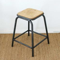 School Stool in iron and wood