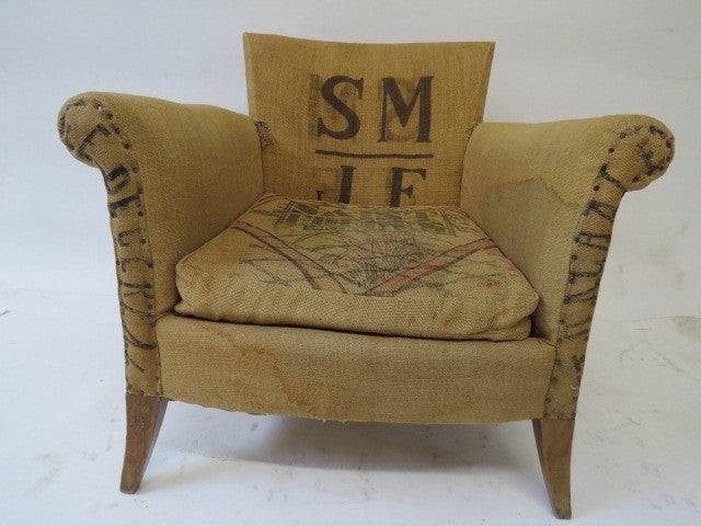 fabric chair made of vintage grain sacks