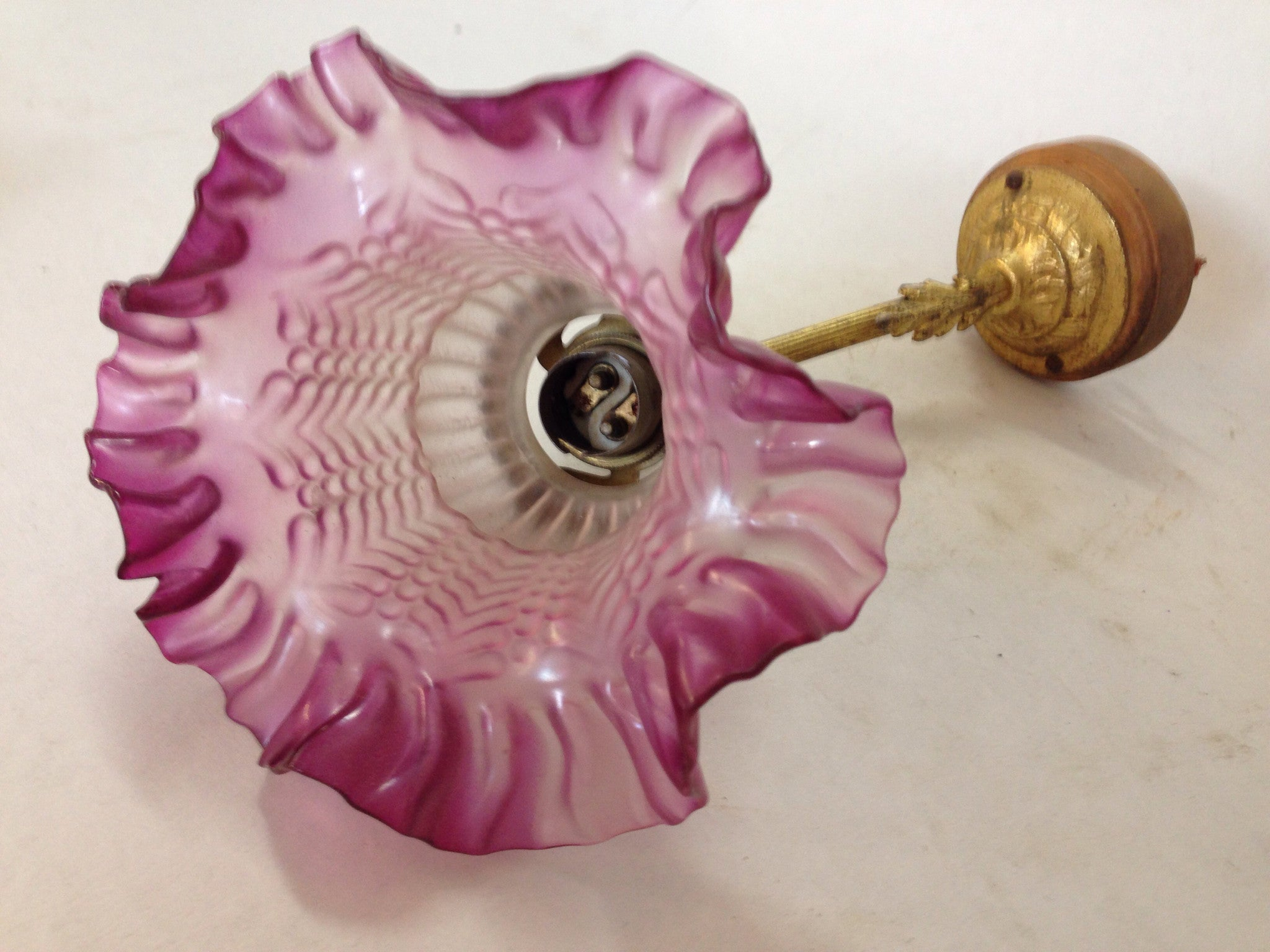 1900's Swan neck Wall sconce with purple glass shade