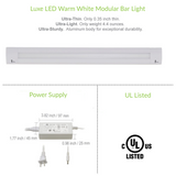 24 Inch LED Bar Lighting | Under Cabinet Lighting | Pack of 3 w/ Accessories