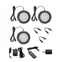 LED Puck Light (Black) | Under Cabinet Lighting | Pack of 3 w/ Accessories