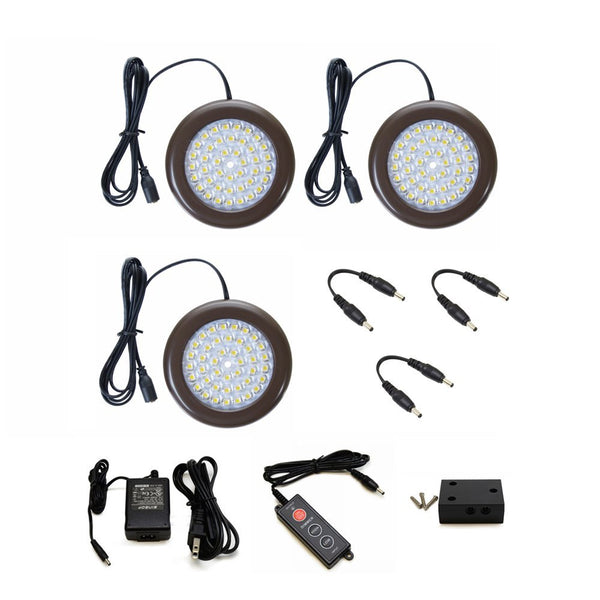 LED Puck Light (Bronze) | Under Cabinet Lighting | Pack of 3 w/ Accessories