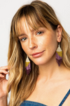 Lilac Ombre With Citron Fringe Earrings 4""