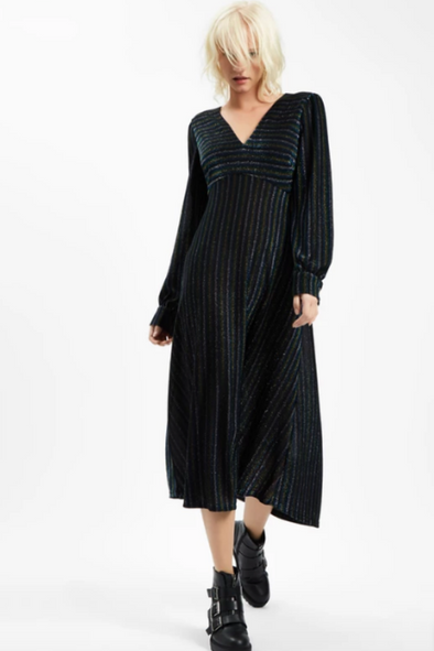 Sale-Pulse Glitter Stripe Midi Dress
