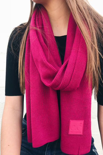 Hot Pink and Black Ribbed Scarf
