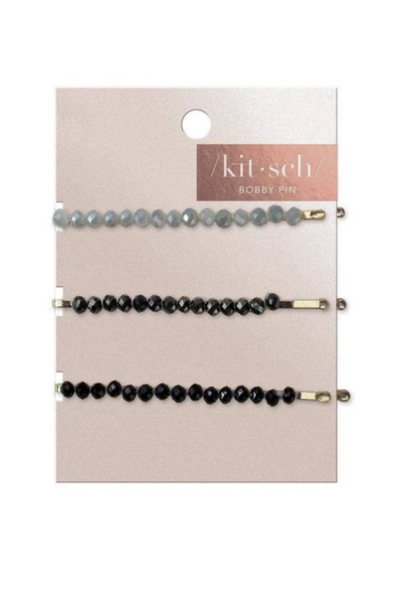 Beaded Black/Grey Metal Bobby Pins