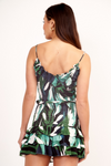 Green Smocked Palm Print Top