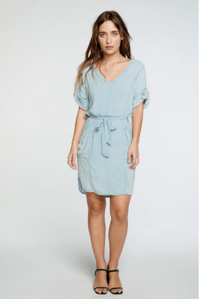 Heirloom Wovens Tie Waist Hi Lo Mini Dress