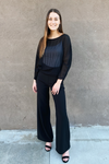 Black Pleated Long Sleeve Top