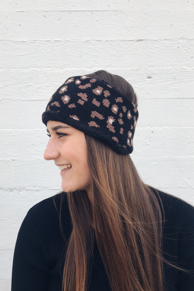Black & Brown Dotted Earwarmer