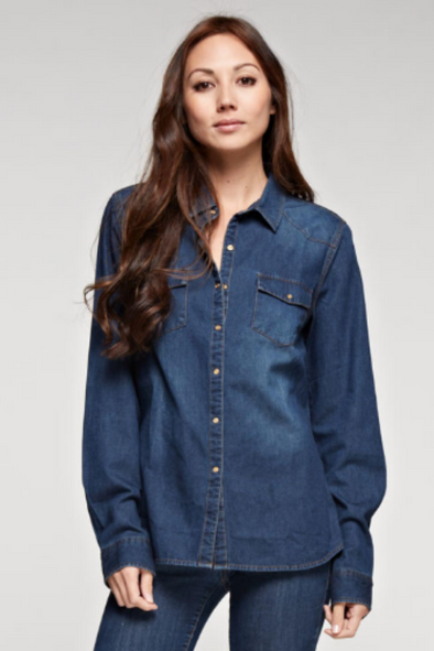 Sale-Dark Wash Denim Top