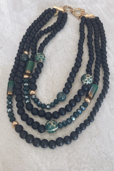 Black Beaded 4 Strand Necklace