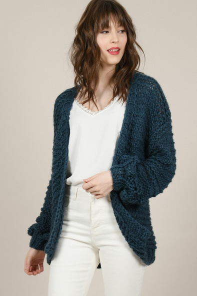 Bohemian Bubble Sleeve Knit Cardigan