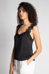 Black Lace Strap Satin Tank
