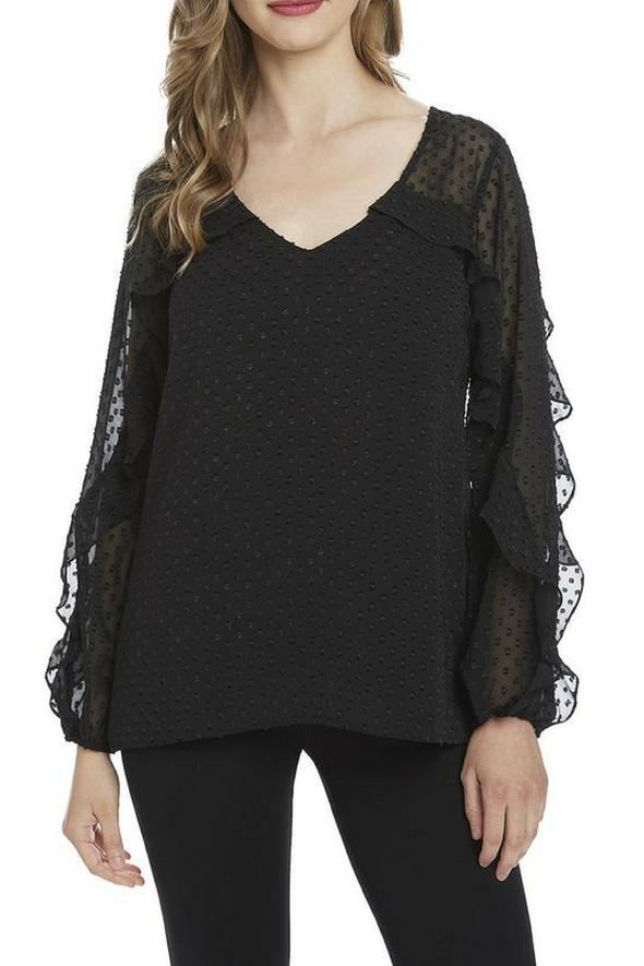 Marisa Black Ruffle Sleeve Top
