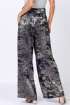 Sale-Navy Abstract Metallic Foiled Long Pants