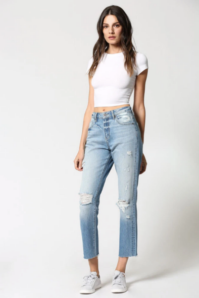 High Rise Straight Crop Denim Jeans