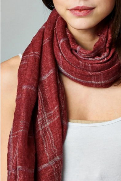 Red & Grey Plaid Scarf
