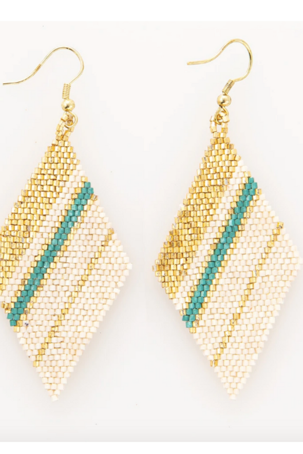 Teal Gold Ivory Diamond Luxe Stripe Earring 3.5""