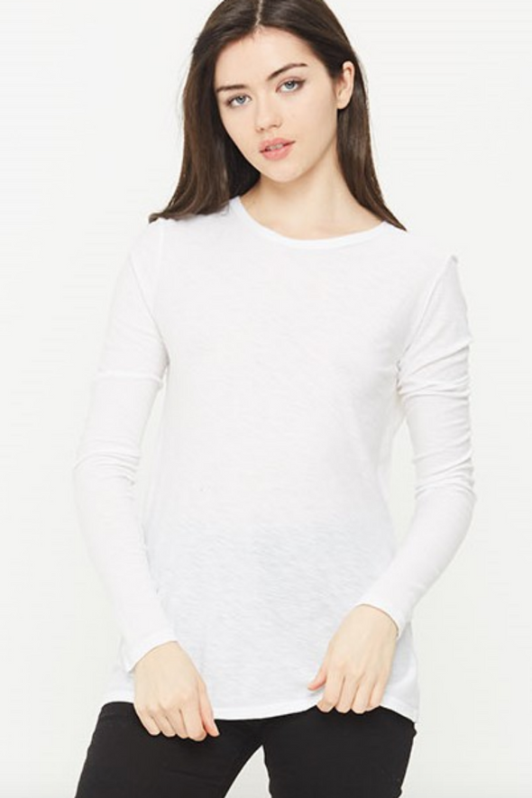 Malibu White Long Sleeve Crew Neck T-Shirt