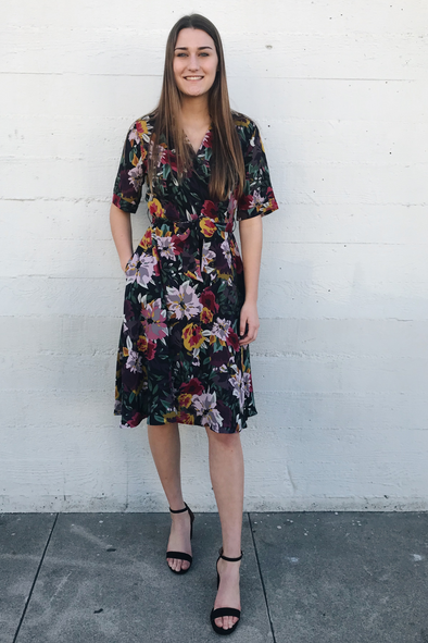 Sale-Floral Water Color A-Line Dress