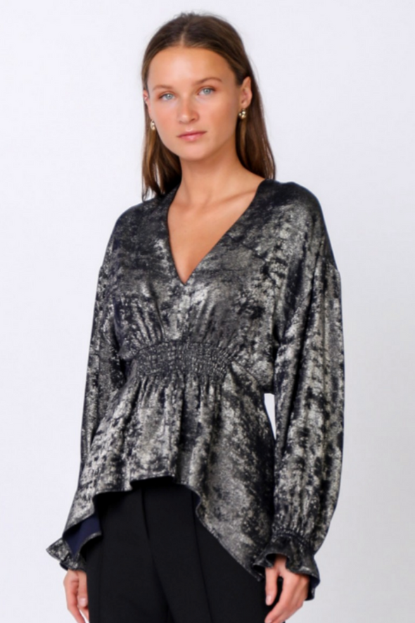 Foiled Metallic Smocked Waist Top
