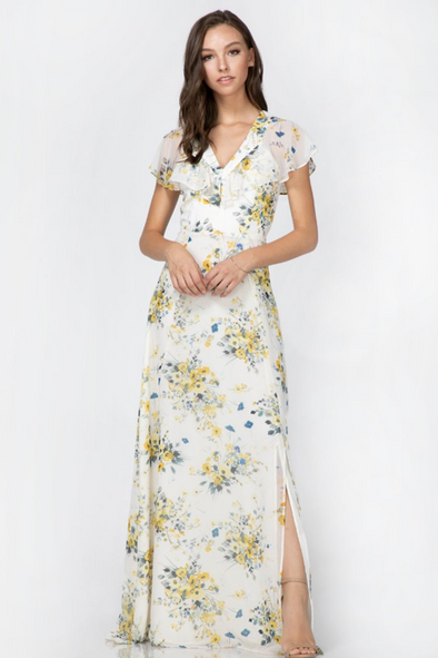 Yellow & Blue Liana Ruffle Maxi Dress