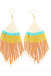 Rust Ivory Citron With Turquoise Stripe Fringe Earrings 4""