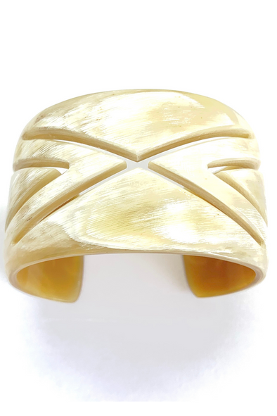 Horn Carved X Cuff