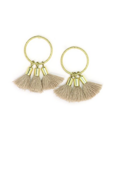Nude Duster Tassel Earrings