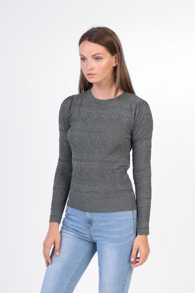 Sale-Pointelle Long Sleeve Sweater