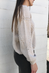 V-Neck Fringe Trim Sweater